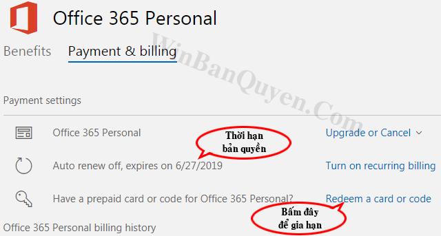 Cách kiểm tra thời hạn sử dụng bản quyền Office 365 - WINBANQUYEN