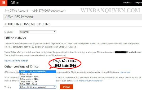 Cách chuyển cài đặt Office từ phiên bản 2016 sang 2013 - WINBANQUYEN
