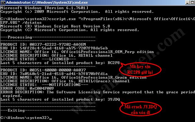 Thông tin bản quyền Office trên hệ thống được hiển thị bằng lệnh cscript.exe OSPP.VBS /dstatus