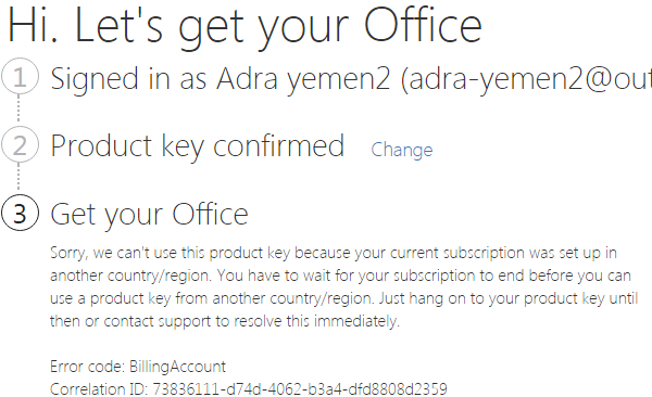 "Office 365 lỗi: ""your current subscription was set up in another country/region"""