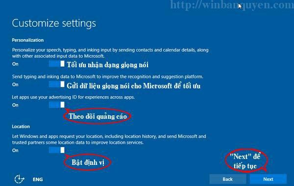 Bảng thiết lập các tùy chọn cá nhân của Windows 10