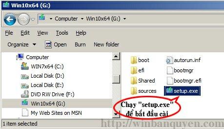 Nâng cấp Windows Chạy file setup.exe trên USB/DVD để tiến hành nâng cấp Windows 10