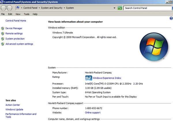 """Dòng """"System type"""" đang hiển thị máy chạy hệ điều hành Windows 6-"""